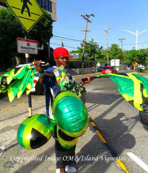 This proud Jamaican displays his merchandise. Taken at Cross Roads, Kingston